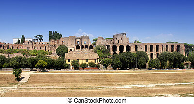 Ruins of Palatine hill palace in Rome, Italy Circus Maximus...