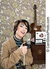 retro 60s singer woman microphone guitar reel tape