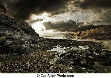 Dramatic rocky beach landscape - Dramatic coastline...