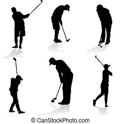 Golf players silhouette - Collection of golfer silhouette,...
