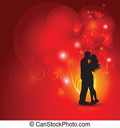 Loving couple - Silhouette of a loving couple on a...