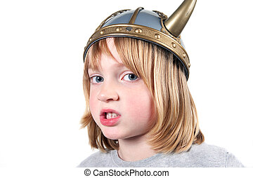 Child viking angry - Angry child with viking helmet. boy...