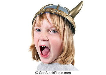 Child viking angry - Angry child with viking helmet boy...
