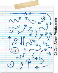 Hand drawn arrows on lined paper - Collection of hand drawn...