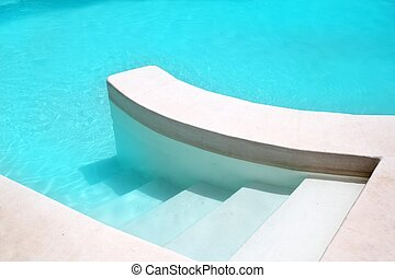 white pool turquoise water clean composition in...