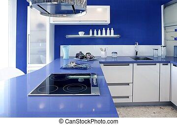 azul, blanco, cocina, moderno, interior, diseño, casa