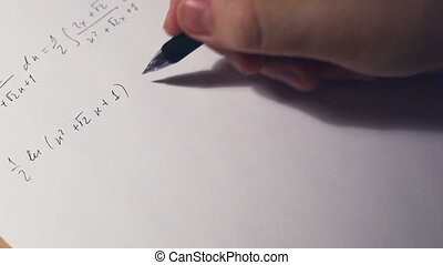 Writing math equations on paper Fast motion effect
