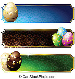 Elegant banners with decorated eggs