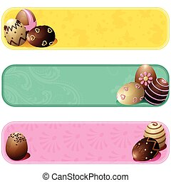 Cute pastel colored easter banners - Set of three cheery...