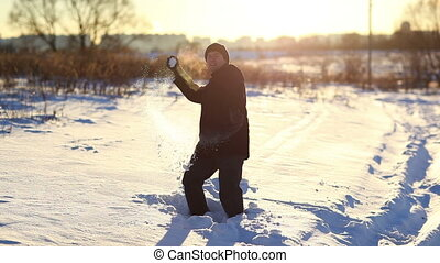 Young man outdoors winter fun
