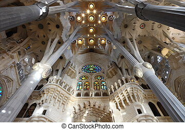 Architecture detail of ceiling and pillars in La Sagrada...