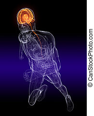 jogger - active brain - 3d rendered illustration of a...