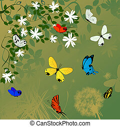 Spring time background with flowers and butterflies