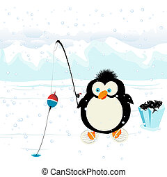 funny penguin - Funny penguin fishing on ice