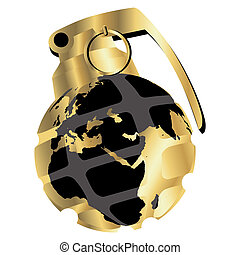 Golden hand grenade - Stylized hand grenade with globe map...