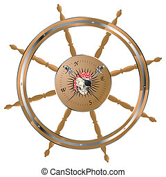 Pirate steering wheel - Pirate ship steering wheel with...
