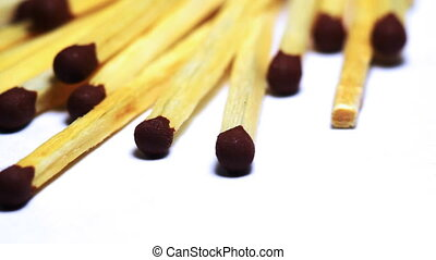 Wooden matches macro dolly shot