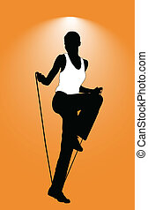 silhouette of gymnastic woman