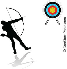 archer silhouette and target