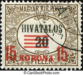20 hivatalos - HUNGARY - CIRCA 1922: 20 hivatalos spamp with...