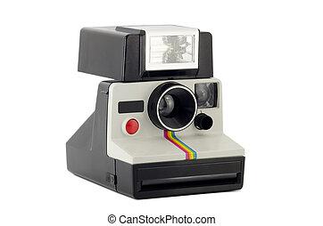 Old Polaroid Camera Isolated on White - Vintage Polariod...