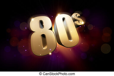 golden 80s - 3d rendered illustration of golden 80s numbers...
