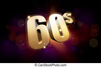 golden 60s - 3d rendered illustration of golden 60s numbers...