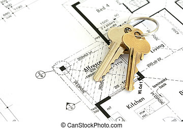Handover - House plan with golden keys.