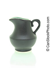 Black earthen jug isolated on white background