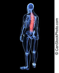 overweight man - painful - 3d rendered illustration of a...