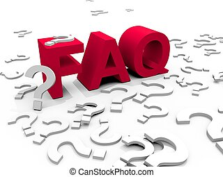 FAQ - The word FAQ surrounded by questionmarks