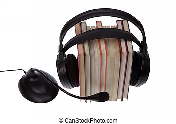 ebook hardcover books stack isolated on white - headset with...