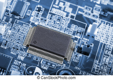 computer chip and parts - computer chip, surrounded by...