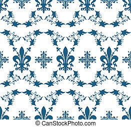 Seamless blue royal vector texture with fleur-de-lis