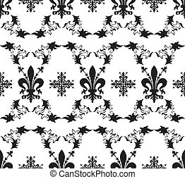 Seamless black royal vector texture with fleur-de-lis
