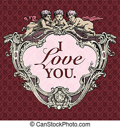 Vector Cupid Valentines Frame - Vector ornate cupid frame....