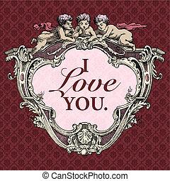 vector, cupido, Valentines, marco