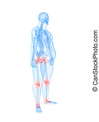 overweight male - painful joints - 3d rendered illustration...