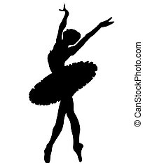 Ballet dancer - Black silhouette the ballerina on a white...