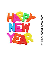 """Happy New Year - """"Happy New Year"""" with copy space on white..."""