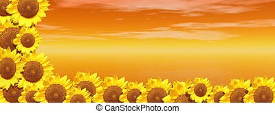 Red ocean and sunflowers - Background of red sky and ocean...