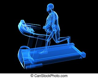 overweight man on the treadmill - 3d rendered illustration...