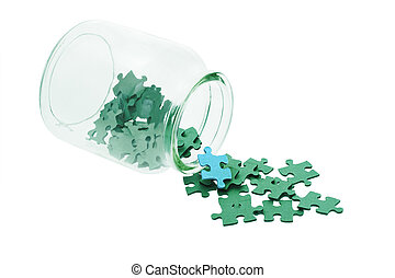 Blue among all green jigsaw puzzles - Blue piece among all...