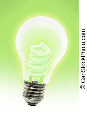 Glowing energy saving electric light bulb - Glowing energy...