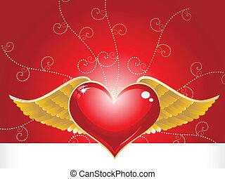 abstract red heart with golden feather