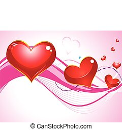 abstract heart with wave in pink background