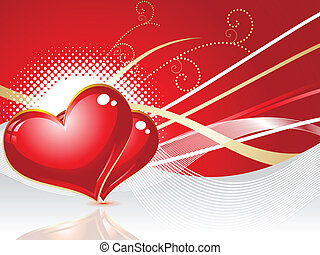 abstract red heart with wave vector illustration