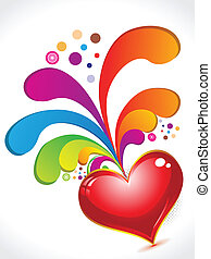 abstract red heart with floral with rainbow color