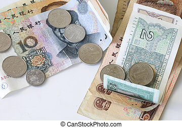 Chinese coins and bills - chinese yuan in coins and bills