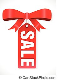 abstract sale tag with ribbon